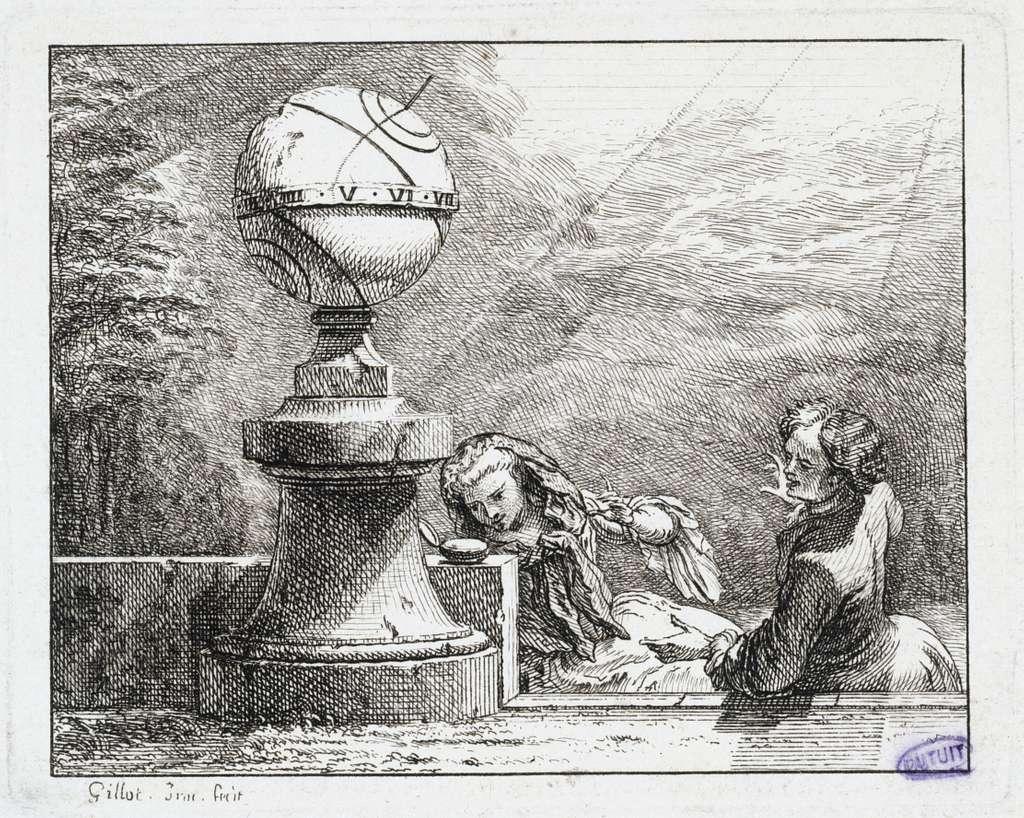 Vignettes Fables de La Motte. La Montre et le cadran solaire (Liv. III, fable 2)