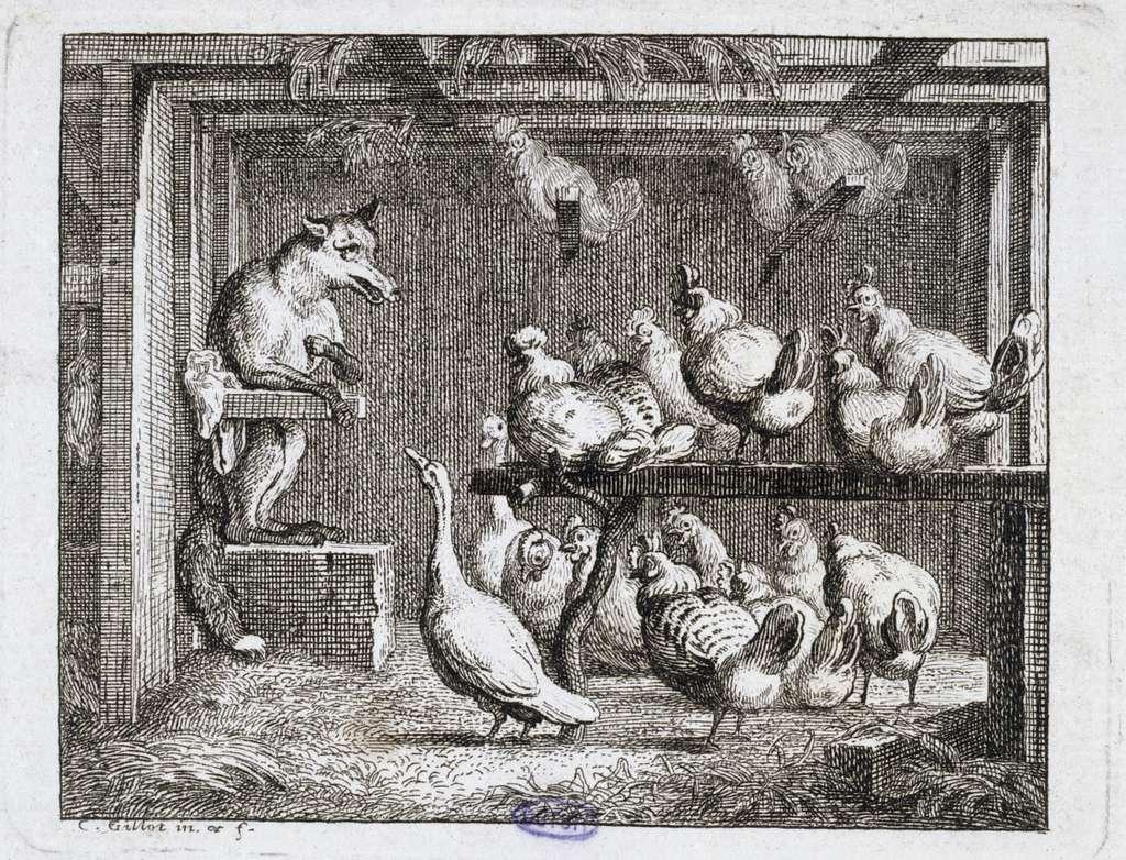 Vignettes Fables de La Motte. Le Renard prédicateur (Liv. V, fable 3)